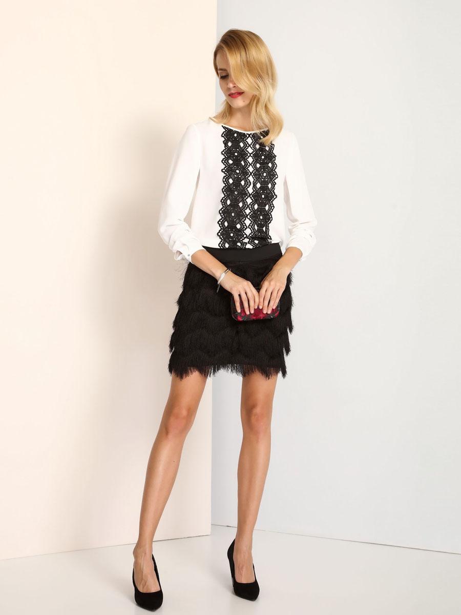 Блузка женская Top Secret, цвет: белый. SBD0623BI. Размер 42 (48) блузка женская top secret цвет светло розовый sbd0685jr размер 40 48