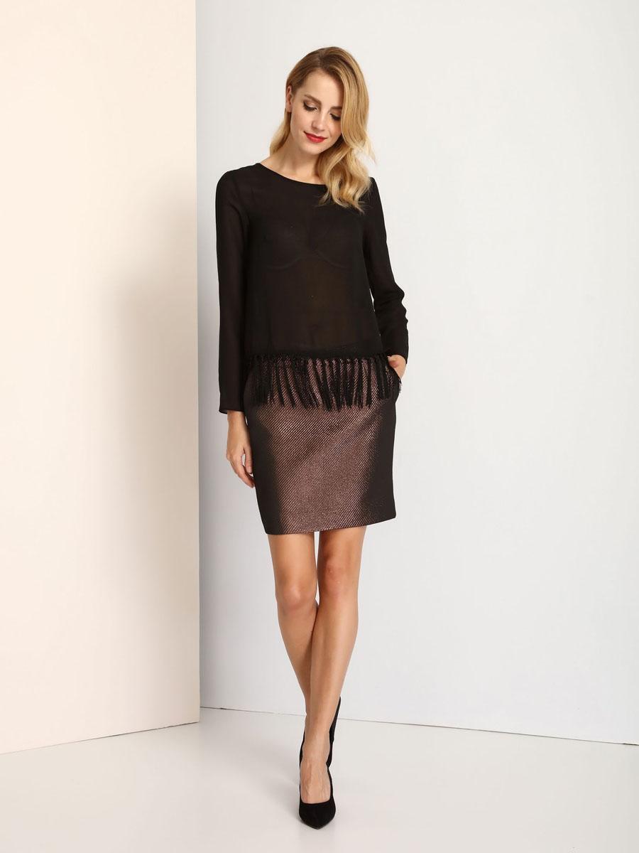 Блузка женская Top Secret, цвет: черный. SBD0627CA. Размер 40 (46) блузка женская top secret цвет светло розовый sbd0685jr размер 40 48