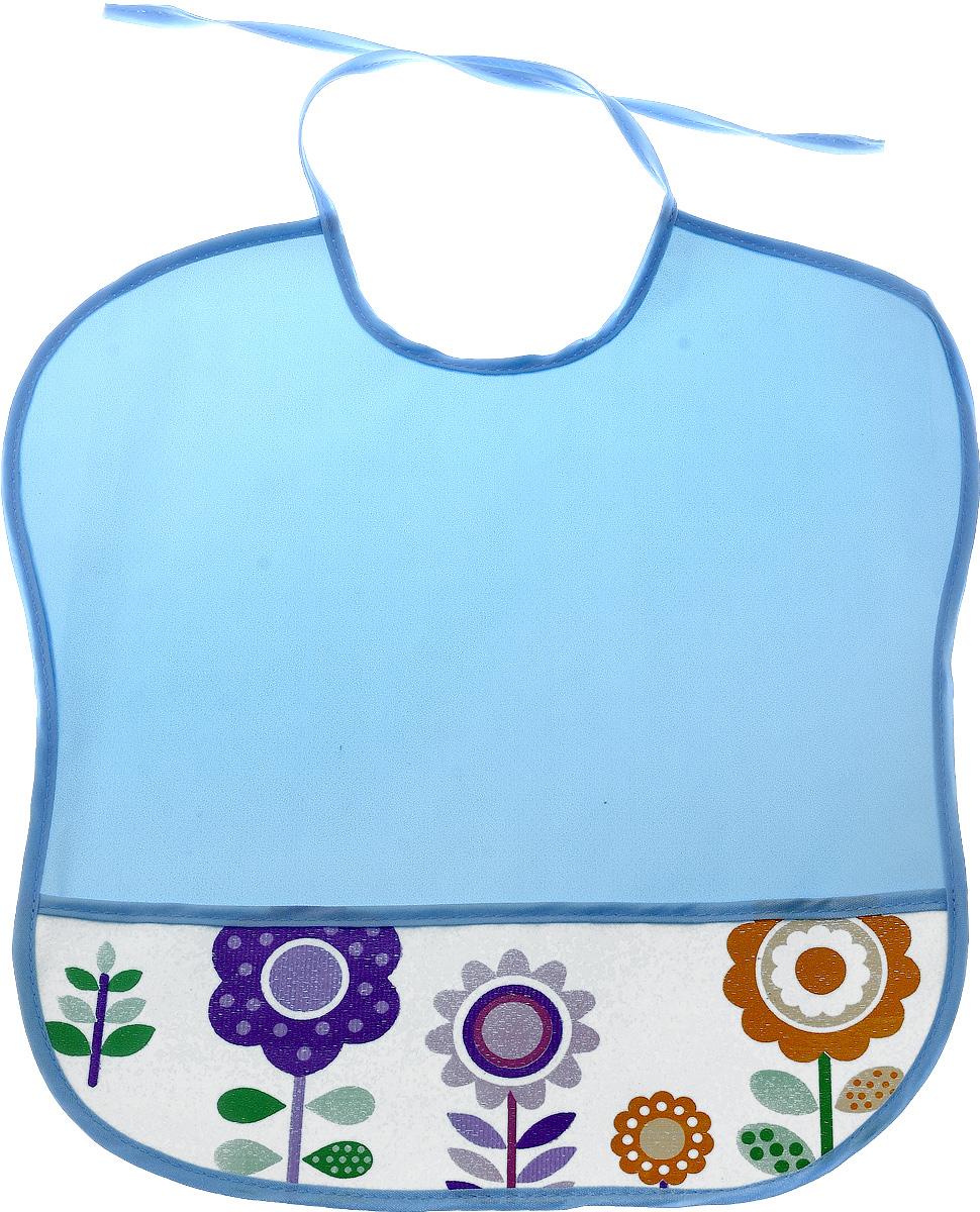 Колорит Нагрудник с карманом Цветы цвет голубой 33 см х 33 см