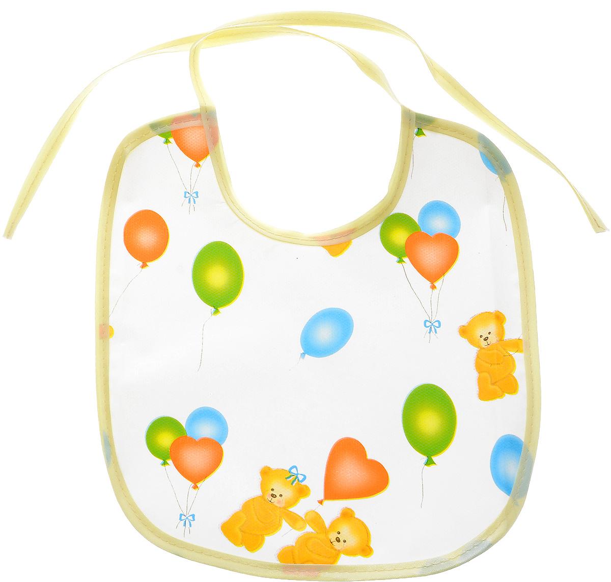 Колорит Нагрудник Мишки с шариками цвет белый молочный 20 см х 22 см -  Все для детского кормления