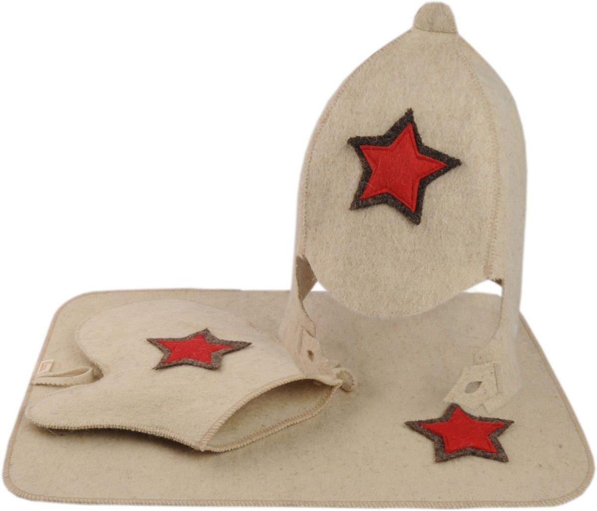 Набор для бани и сауны Буденовка, цвет: белый, 3 предмета шапка для бани и сауны доктор баня классическая кант