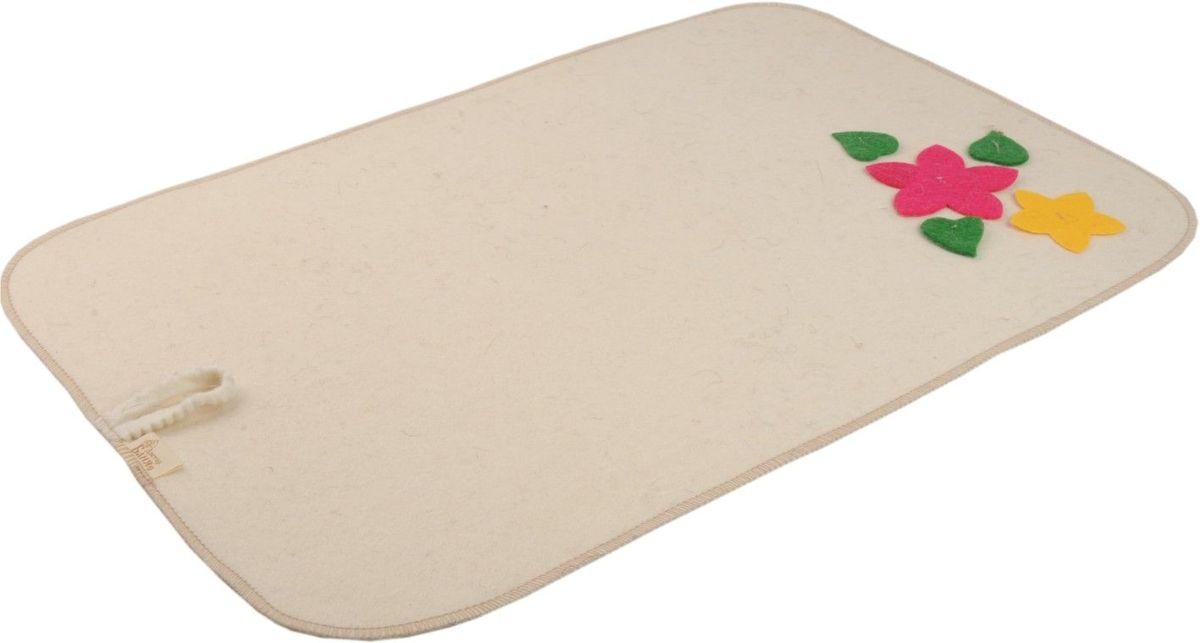 Коврик для бани и сауны Букет, 50 х 33 см904711Коврик - необходимый банный аксессуар. Является средством личной гигиены, защищает открытые части тела парильщика от перегретых поверхностей полок, лавок в парной бани или сауны. Коврик оформлен аппликацией в виде цветов и листиков.Благодаря специальной петельке, коврик можно подвесить на стенку. Характеристики: Материал: шерсть. Размер коврика: 50 см х 33 см. Производитель: Россия.