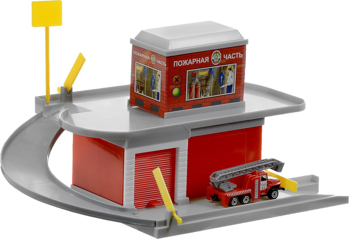 ТехноПарк Игровой набор Пожарная часть 2201B-R технопарк пожарная машина со светом и звуком технопарк
