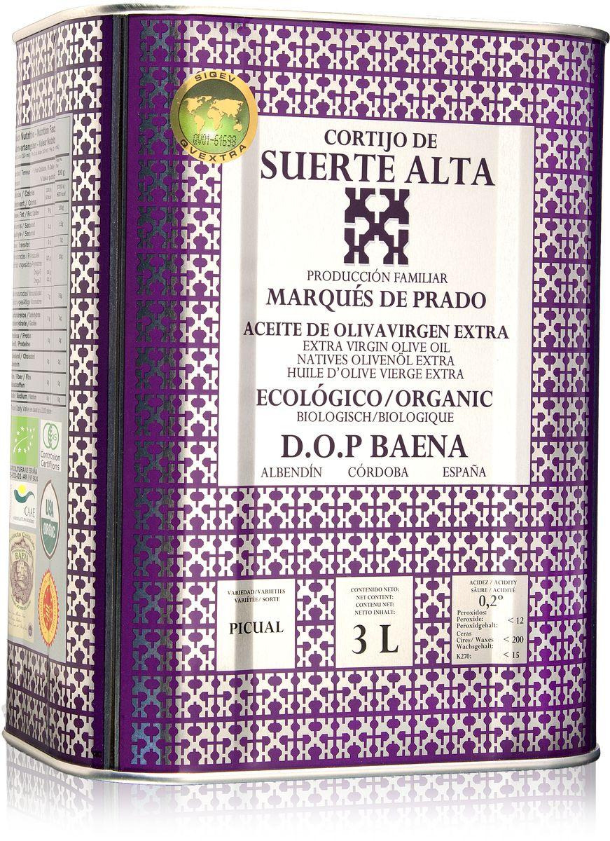 Suerte Alta Пикуаль оливковое масло Extra Virgin, 3 л8437009165065Суэртэ Альта Пикуаль - нерафинированное оливковое масло первого холодного отжима премиум класса кислотностью 0,2%, которая является лечебной по испанским законам. ЭКОЛОГИЧЕСКИЙ ФЕРМЕРСКИЙ ПРОДУКТ из оливок сорта Пикуаль раннего сбора урожая. Диетический продукт! ОРГАНИЧЕСКОЕ оливковое масло от семьи Мануэля Эредия Альскон, маркиза Прадо. Компания основана его дедом в 1924 году. С 1996 года компания официально занимается Органическим сельским хозяйством, о чем свидетельствует сертификат C.A.A.E. - Совета по органическому земледелию Андалусии, а также аналогичные сертификаты США, Японии и Европейского совета. Поместье находится недалеко от городка Баэна (провинция Кордоба) - официальной столицы оливкового масла Испании. Именно здесь ежегодно проходит праздник молодого оливкового масла