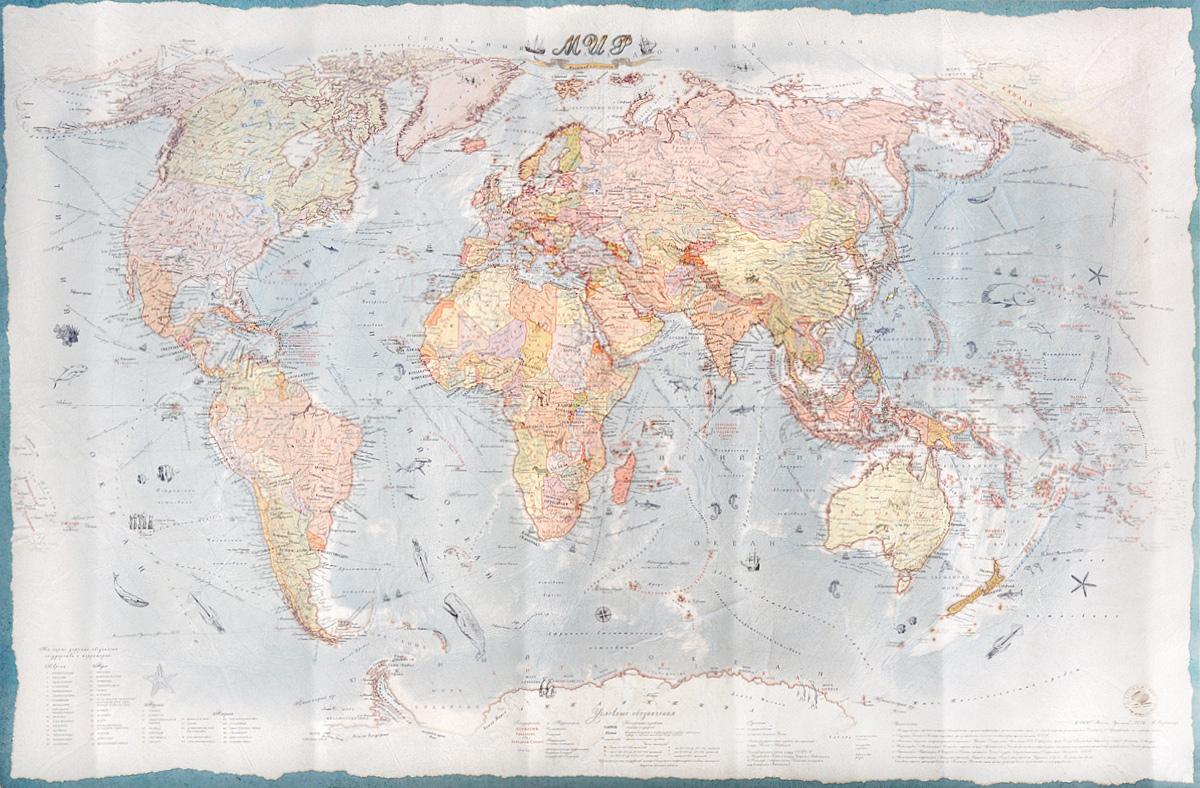 Карта мира. Политическая. Стиль ретро