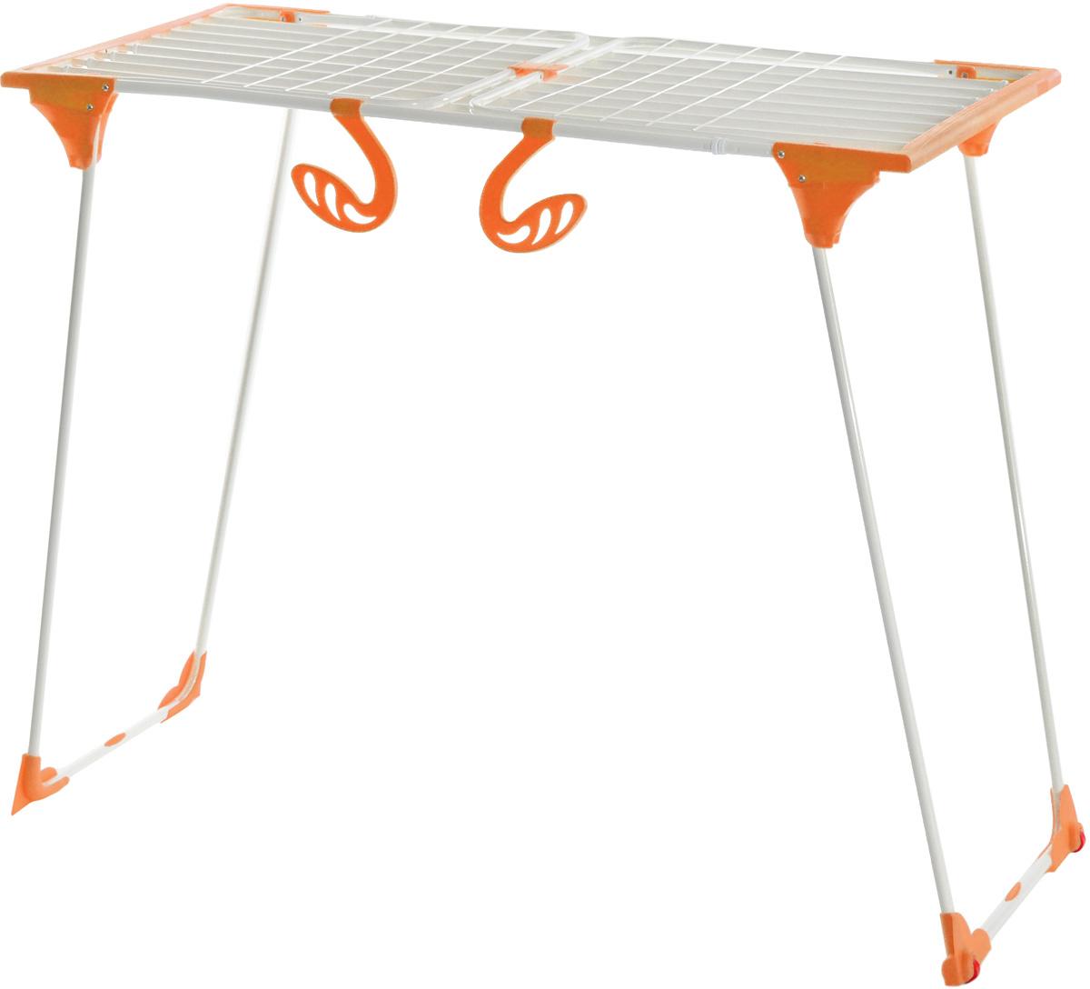 "Сушилка для белья Gimi ""Dinamik 30 Color"", напольная, цвет: белый, оранжевый, 257 х 57 х 102 см"