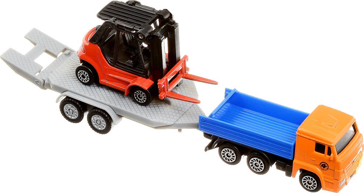 ТехноПарк Набор машинок КамАЗ с погрузчиком 2 шт tomy трактор john deere 6830 с двойными колесами и фронтальным погрузчиком с 3 лет