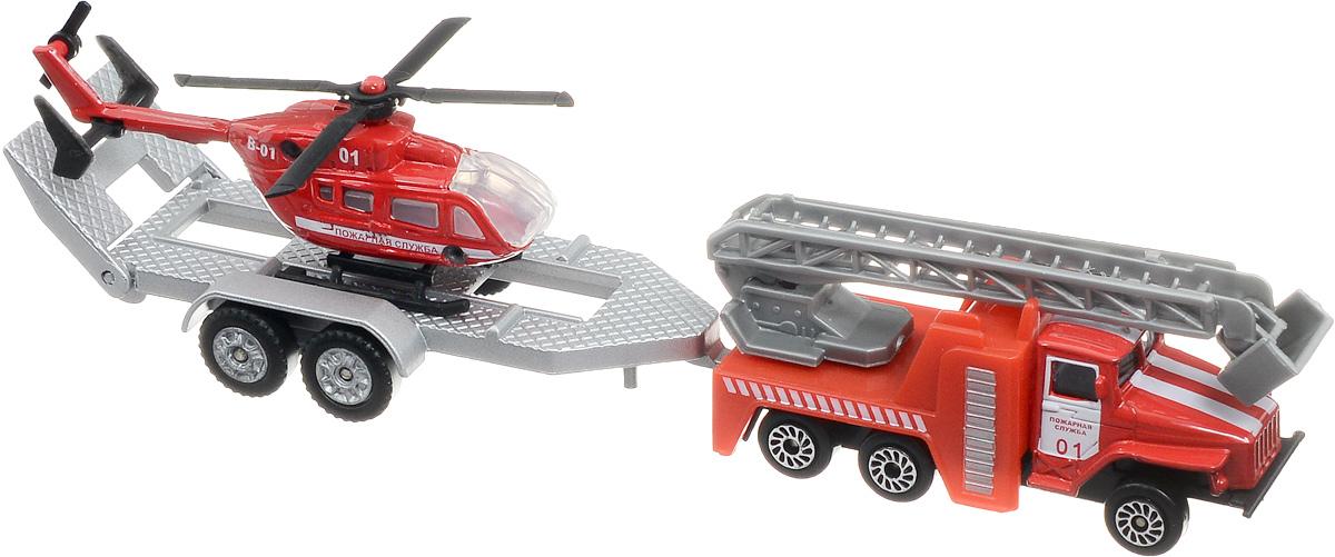 ТехноПарк Машинка Пожарная служба с вертолетом на прицепе технопарк автомобиль uaz hunter пожарная служба