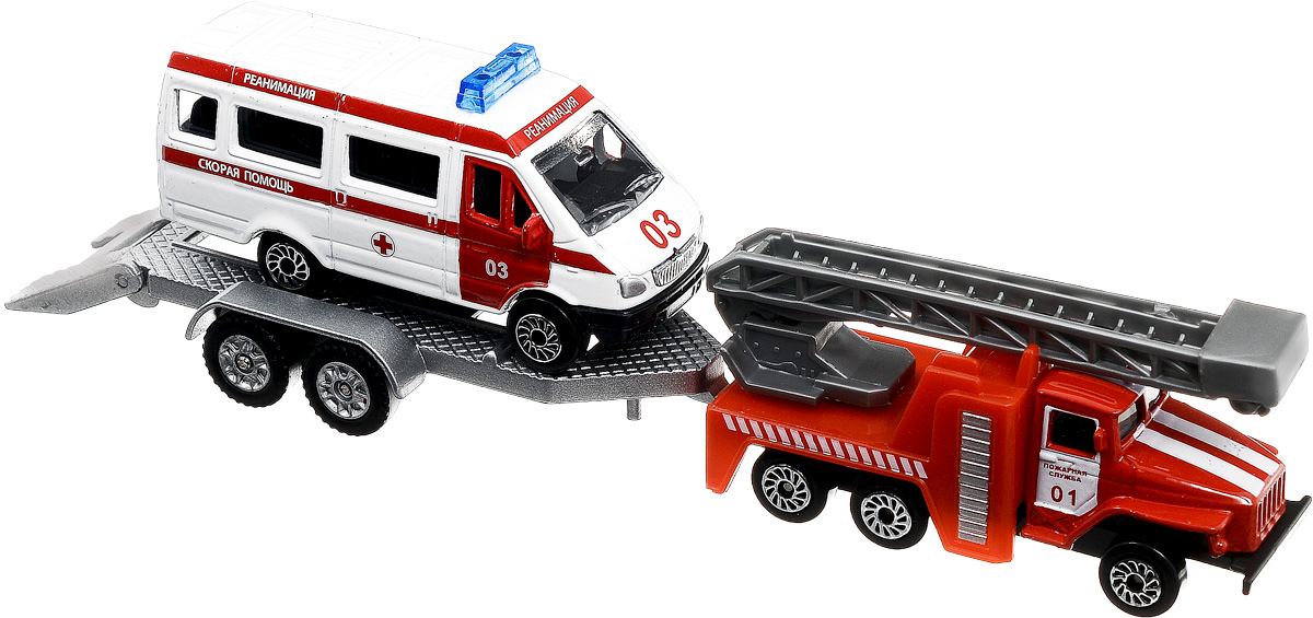 ТехноПарк Машинка Пожарная служба со скорой помощью на прицепе технопарк пожарная машина со светом и звуком технопарк