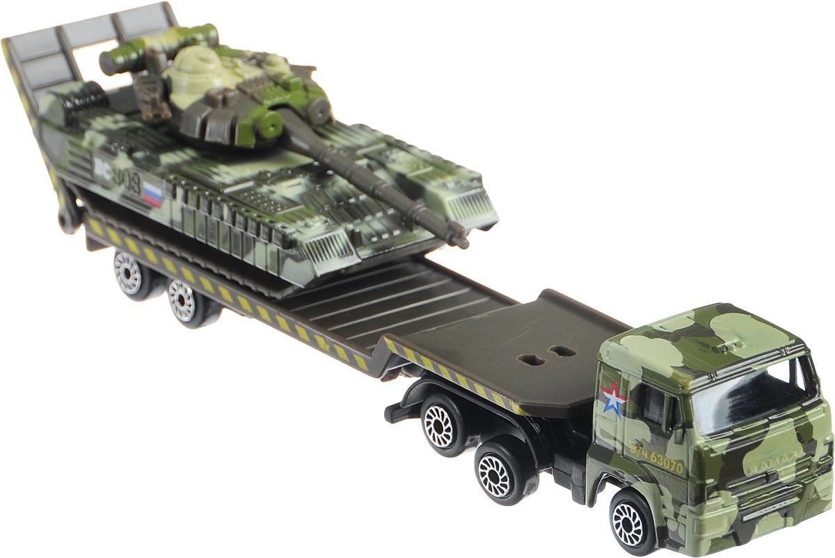 ТехноПарк Набор машинок Транспортер КамАЗ с танком SB-15-04-4-WB машинки технопарк машина технопарк металлический камаз автотранспортер