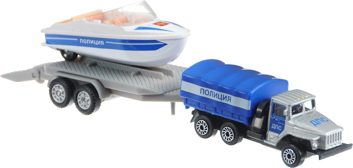 ТехноПарк Набор машинок Урал Полиция с лодкой на прицепе технопарк игровой набор полиция