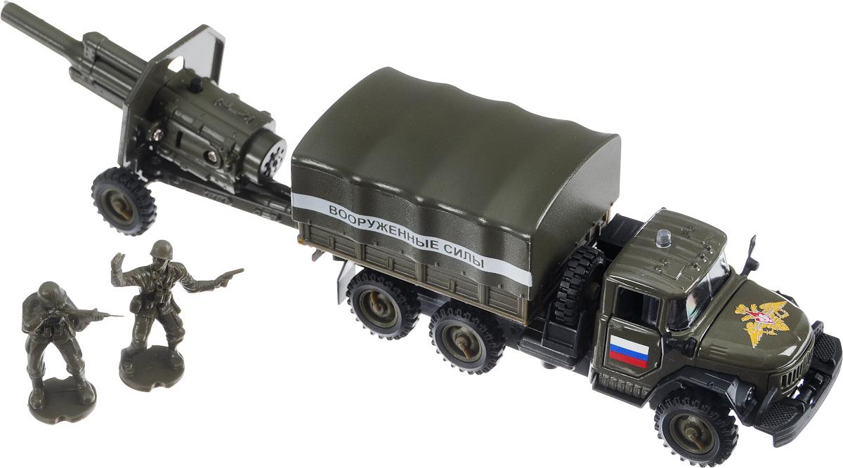 ТехноПарк Машинка инерционная ЗИЛ-131 Вооруженные силы с пушкой машинки технопарк машина технопарк зил 131 c машинкой танком