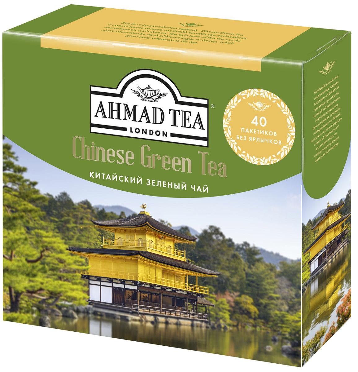 Ahmad Tea Китайский зеленый чай в пакетиках для заваривания в чайнике, 40 шт1584LYКитайский зеленый чай Ahmad Tea - сокровищница природы. Благодаря особенностям технологии производства зеленый чай максимально сохраняет присутствие антиоксидантов, витаминов и микроэлементов. Легкий вкус этого чая можно украсить ложечкой тростникового сахара, меда, что придаст напитку нежное ореховое послевкусие.Уважаемые клиенты! Обращаем ваше внимание на то, что упаковка может иметь несколько видов дизайна. Поставка осуществляется в зависимости от наличия на складе.