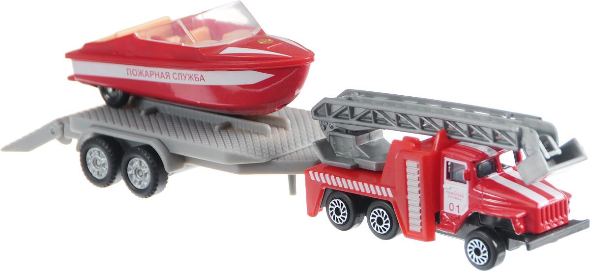 ТехноПарк Набор машинок Урал Пожарная служба с лодкой на прицепе электромотор для лодки интекс
