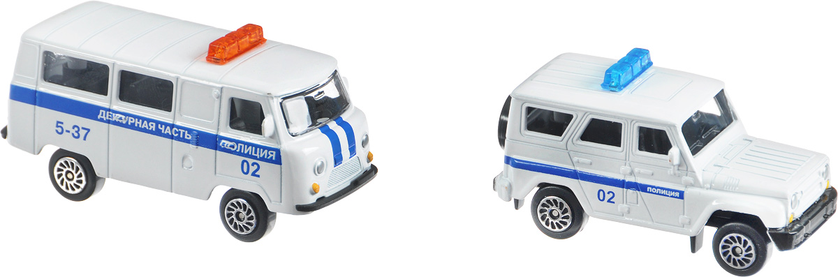 ТехноПарк Набор машинок УАЗ Полиция 2 шт машинки технопарк набор из 2 х металлических моделей технопарк уаз полиция