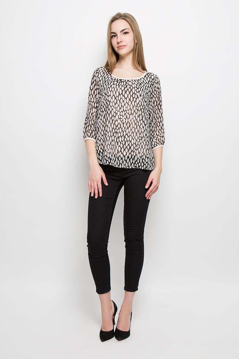 Блузка женская Broadway Tesni, цвет: бежевый, черный. 10156963_055. Размер S (44)
