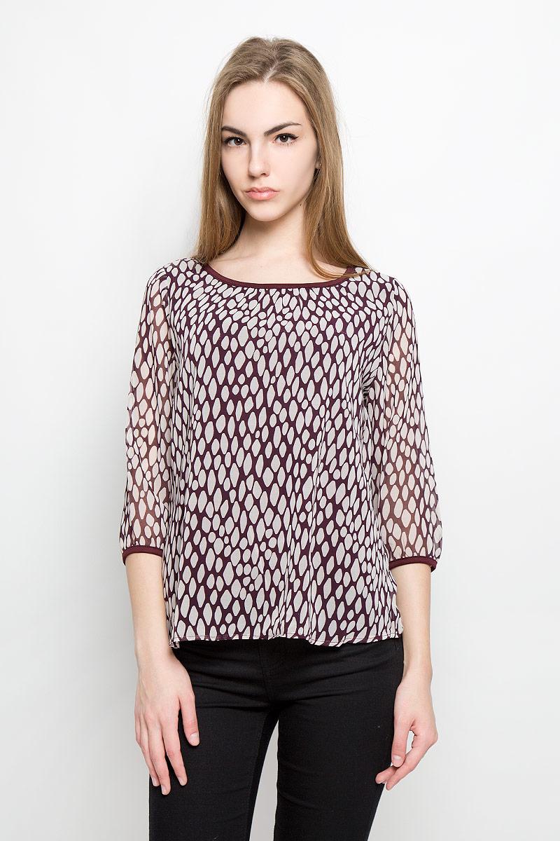 Блузка женская Broadway Tesni, цвет: бордовый, светло-серый. 10156963_335. Размер S (44)