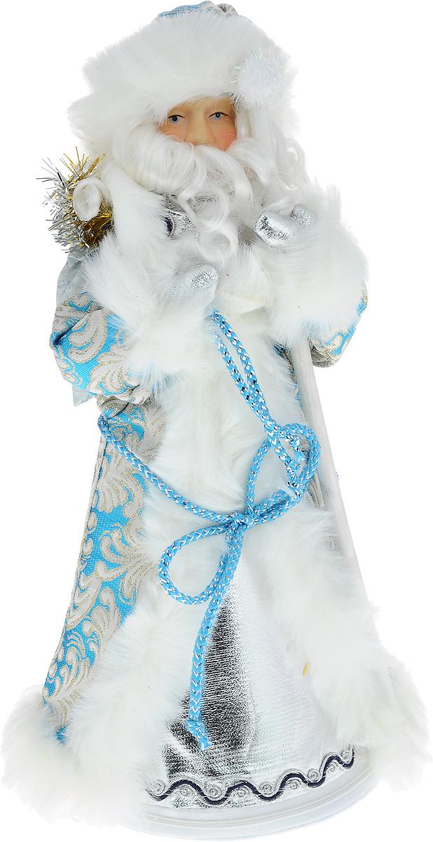 """Фигурка декоративная Win Max """"Дед Мороз"""" станет отличным украшением  интерьера в преддверии Нового года. Каркас изделия выполнен из плотного  текстиля, молния на дне обеспечивает устойчивость.  Фигурка выполнена в виде Деда Мороза в голубой шубке, серебристых варежках  и шапке. Шубка декорирована узорами, расшита золотыми нитками и украшена  белой опушкой, шапка оформлена крупным сверкающим камнем. Дед Мороз  держит в руках посох, а на плече у него мешок с подарками. Лицо фигурки,  выполненное из фарфора, отличается высоким качеством прорисовки.  Красивая новогодняя фигурка создаст в вашем доме атмосферу праздника.  Почувствуйте волшебные минуты ожидания праздника, создайте новогоднее  настроение вашим родным и близким."""