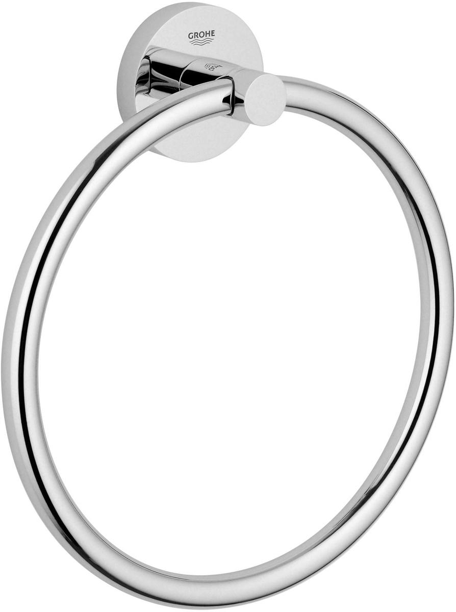 """Кольцо для полотенца Grohe """"Essentials"""", изготовленное из латуни, сочетает в себе минималистский дизайн, премиальное качество и элегантность. Это кольцо для полотенца станет идеальным выбором для вашей ванной комнаты. Изделие изготовлено с нанесением износостойкого покрытия Grohe StarLight®, устойчивого к царапинам и загрязнению. Покрытие, выполненное по специальным технологиям, придает изделию сияющий вид. Аксессуар крепятся к стене при помощи шурупов, входящих в комплект."""