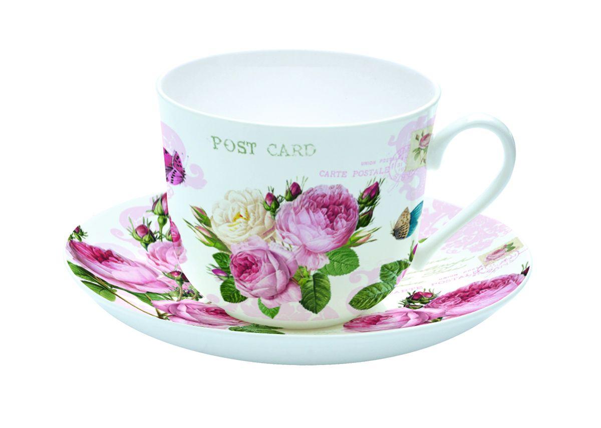 Чайная пара Nuova R2S Романтические розы, 2 предмета кружка nuova r2s милый друг 350 мл