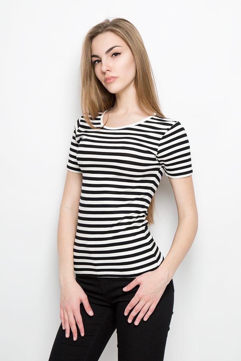 Футболка женская Broadway Silvia, цвет: черный, белый. 10156877_999. Размер L (48)