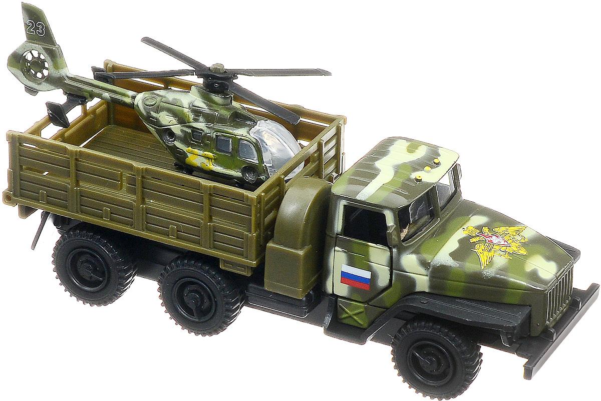 ТехноПарк Грузовик Урал с вертолетом машина технопарк металл инерц урал 12см с вертолетом открыв двери