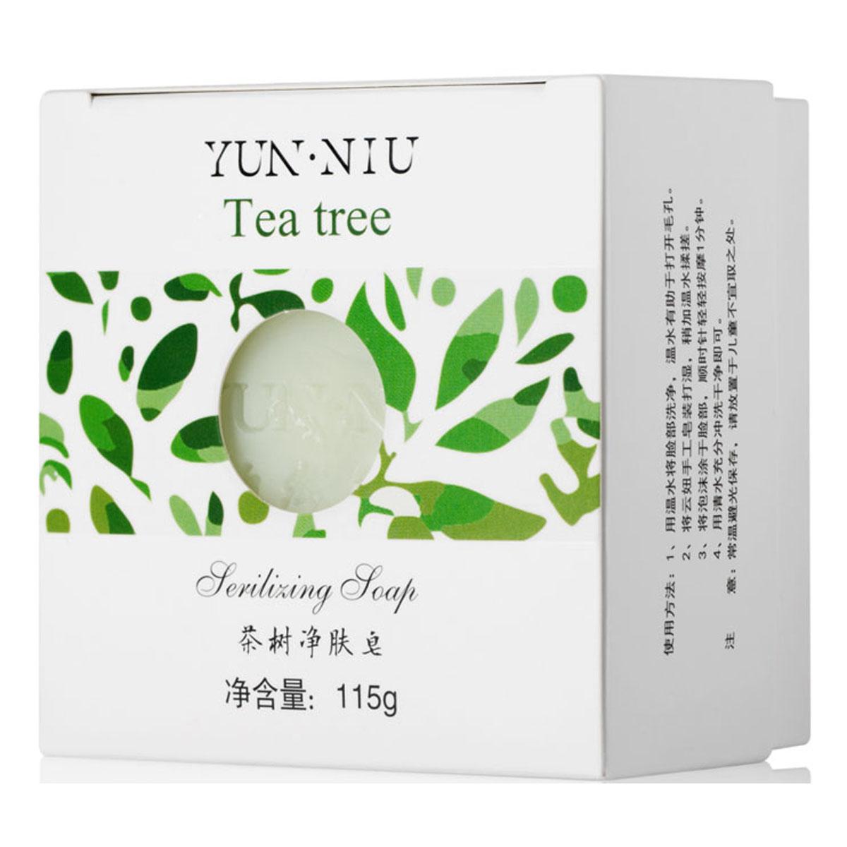 Yun-Niu Натуральное мыло с маслом чайного дерева, 115 гр220643Ежедневный уход за проблемной и воспаленной кожей. Благодаря бактерицидным и антисептическим свойства чайного дерева это мыло убивает болезнетворные бактерии и микробы без вреда для кожи. Мыло с экстрактом чайного дерева YUN-NIU (юн-ню, юнню) предназначено для ежедневного ухода за проблемной и воспаленной кожей.В состав мыла входит экстракт и масло чайного дерева, которое обладает следующими свойствами: бактерицидными, противогрибковыми, антисептическими, противовоспалительными, аромотерапическими.