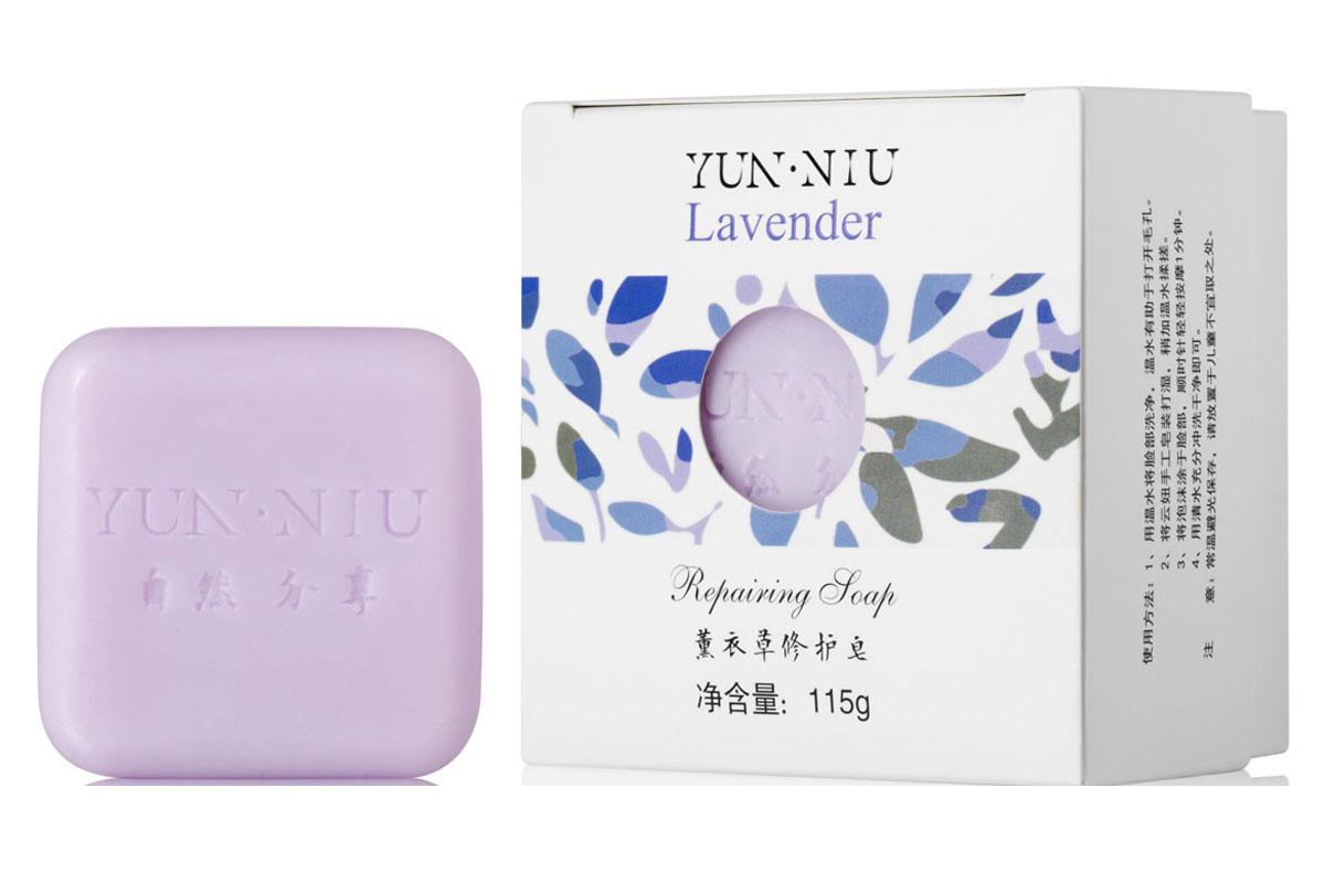 Yun-Niu Натуральное мыло с маслом лаванды, 115 гр220650Ежедневный уход за проблемной кожей. Экстракт и масло лаванды отлично справляется с черными точками без вреда для кожи.Мыло с экстрактом лаванды YUN-NIU (юн-ню, юнню) предназначено для ежедневного ухода за проблемной кожей. Способствует устранению черных точек, нормализует водно-жировой баланс кожи, питает кожу, благоприятно воздействует на нервную систему.