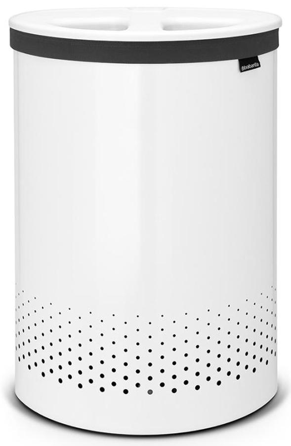 Бак для белья Brabantia, цвет: белый, 55 л. 105005105005Стильный дизайн и аккуратное хранение – через крышку не видно содержимое. Удобно закладывать и доставать белье – крышка крепится на верхний обод бака. Небольшие вещи можно закладывать, не открывая крышку – загрузочное отверстие Quick-Drop. Удобная переноска белья – съемный легко стираемый хлопковый мешок для белья. Мешок для белья удобно крепится на липучке, вкладывается и достается из бака. Вентиляционные отверстия позволяют белью «дышать». Нижний пластиковый защитный обод предохраняет пол от повреждений. Бак изготовлен из коррозионностойких материалов и идеально подходит для использования в ванной комнате.
