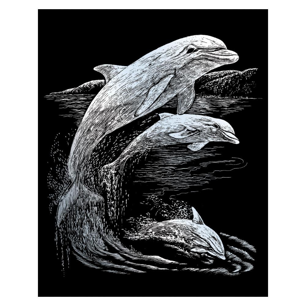 Royal & Langnickel Гравюра Дельфины цвет серебро