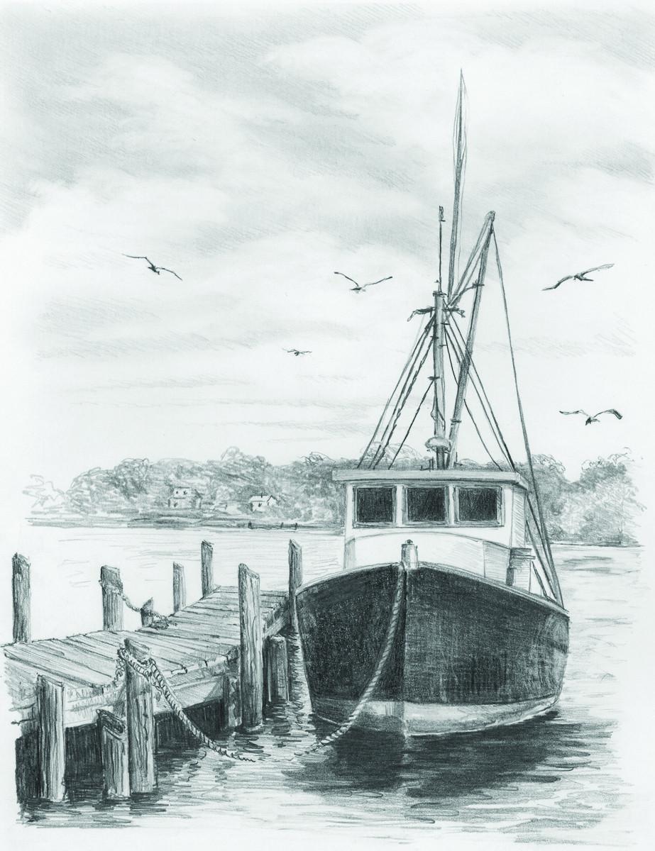 Royal & Langnickel Раскраска-эскиз Рыбацкая лодка