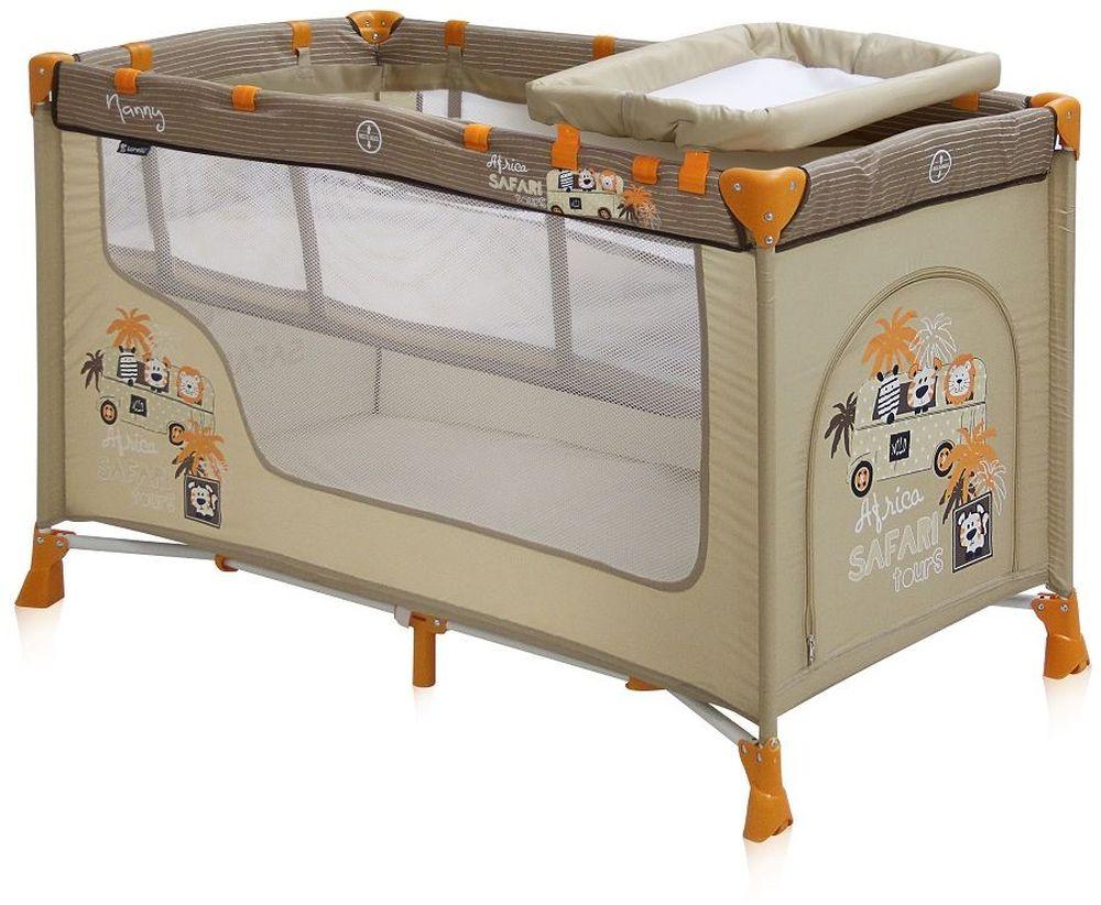 Lorelli Манеж-кроватка Nanny 2 цвет бежевый3800151928614Детский манеж-кроватка от болгарского бренда Bertoni Nanny 2 - это гарантированный комфорт вашего малыша!Продукция компании сертифицирована и отвечает самым высоким стандартам качества и безопасности эксплуатации, одобрена нормами ЕС.Манеж-кроватка уместен не только в доме, но и на улице.Достоинства детской кроватки-манежа Bertoni Nanny 2: -Продукция изготовлена из высококачественных, экологичных материалов с антибактериальным покрытием.-Дно в Bertoni Nanny 2 имеет 2 уровня: одно для игр, второе для сна.-Дно жесткое, что гарантирует правильную поддержку спинки ребенка во время сна.-Bertoni Nanny 2 имеет центральную ножку, которая гарантирует не только дополнительную устойчивость, но и не дает прогибаться дну.-В сложенном виде конструкция занимает мало места, легко переносится в сумки, которая идет в комплекте. Процесс складывания предельно прост.-Bertoni Nanny 2 снабжена пеленатором, который устанавливается на борта манежа.-Боковины прозрачные, так что вы всегда будете знать, чем занят ваш малыш.-Для деток, которые немножко подросли, можно открыть автовыход на торцевой панели.