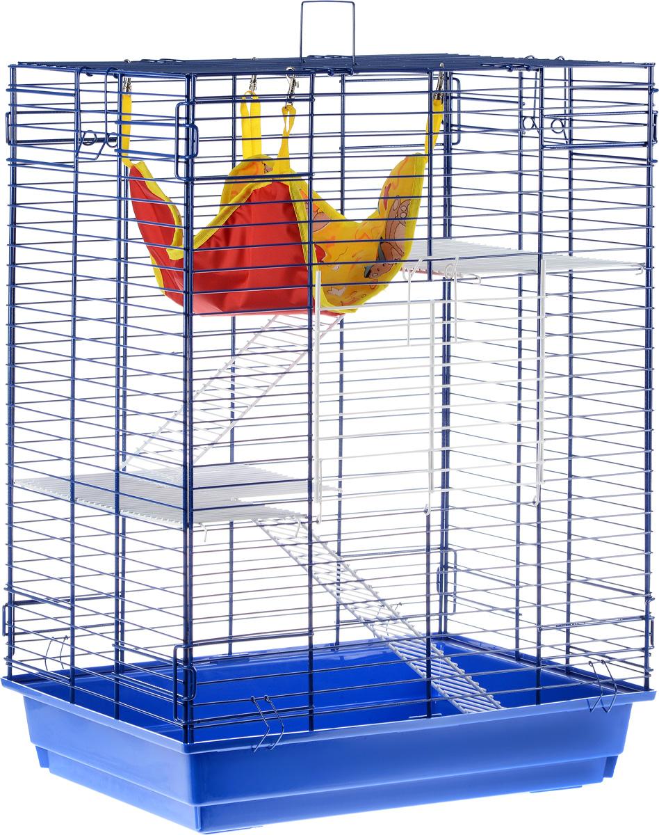 Клетка для шиншилл и хорьков  ЗооМарк , цвет: синий поддон, синяя решетка, 59 х 41 х 79 см