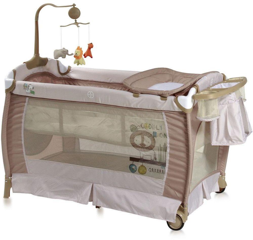 Lorelli Манеж-кроватка SleepNDream цвет бежевый10080311707Манеж-кроватка Lorelli SleepNDream - практичная и компактная модель, которая поможет родителям на время ограничить перемещение малыша по дому и сделает его пребывание абсолютно безопасным. Плюсом модели является два уровня высоты ложа. Первый уровень используется для новорожденных. Когда ребенок подрастет, дно можно опустить на второй уровень и использовать манеж не опасаясь, что ребенок вывалится из него.Особенности:Удобный пеленальный столикСбоку отверстие на молнииКолесики для перемещения по полуКомпактное складываниеМузыкальная карусель с подвесными игрушкамиПодставка для аксессуаров и мелочей