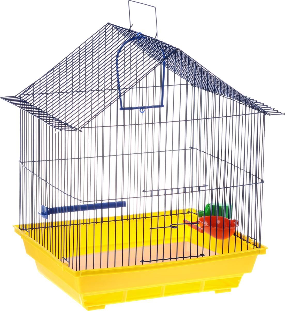 Клетка для птиц ЗооМарк, цвет: желтый поддон, синяя решетка, 39 х 28 х 42 см410_желтый, синийКлетка ЗооМарк, выполненная из полипропилена и металла с эмалированным покрытием, предназначена для мелких птиц. Изделие состоит из большого поддона и решетки. Клетка снабжена металлической дверцей. В основании клетки находится малый поддон. Клетка удобна в использовании и легко чистится. Она оснащена кольцом для птицы, поилкой, кормушкой и подвижной ручкой для удобной переноски. Комплектация: - клетка с поддоном; - малый поддон; - поилка; - кормушка;- кольцо.