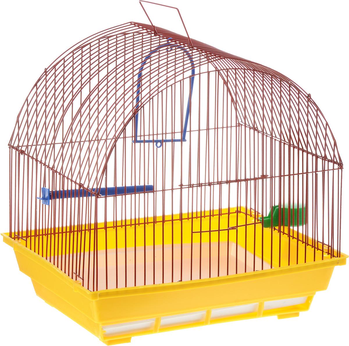 Клетка для птиц ЗооМарк, цвет: желтый поддон, красная решетка, 35 х 28 х 34 см420_желтый, красныйКлетка ЗооМарк, выполненная из полипропилена и металла с эмалированным покрытием, предназначена для мелких птиц.Изделие состоит из большого поддона и решетки. Клетка снабжена металлической дверцей. В основании клетки находится малый поддон. Клетка удобна в использовании и легко чистится.Комплектация:- клетка с поддоном,- малый поддон,- поилка,- кормушка,- кольцо.