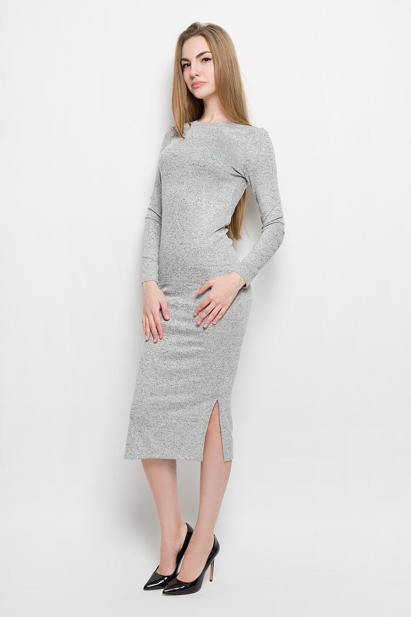 Платье Broadway Serena, цвет: серый меланж. 10156896_807. Размер S (44)10156896_807Модное платье Broadway Serena поможет создать отличный современный образ. Модель изготовлена из вискозы с добавлением полиэстера и эластана. Платье-миди с круглым вырезом горловины и длинными рукавами дополнено снизу по боковым сторонам разрезами.
