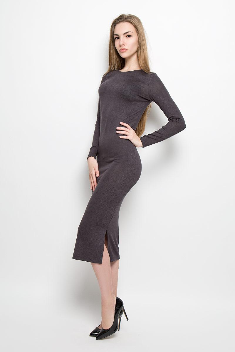 Платье Broadway Serena, цвет: темно-серый. 10156896_826. Размер S (44)10156896_826Модное платье Broadway Serena поможет создать отличный современный образ. Модель изготовлена из вискозы с добавлением полиэстера и эластана. Платье-миди с круглым вырезом горловины и длинными рукавами дополнено снизу по боковым сторонам разрезами.