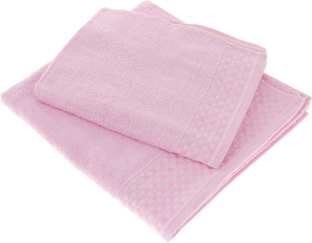 Набор полотенец Tete-a-Tete Сердечки, цвет: розовый, 2 шт. УНП-104 набор полотенец tete a tete сердечки цвет желтый бирюза 50 х 90 см 2 шт