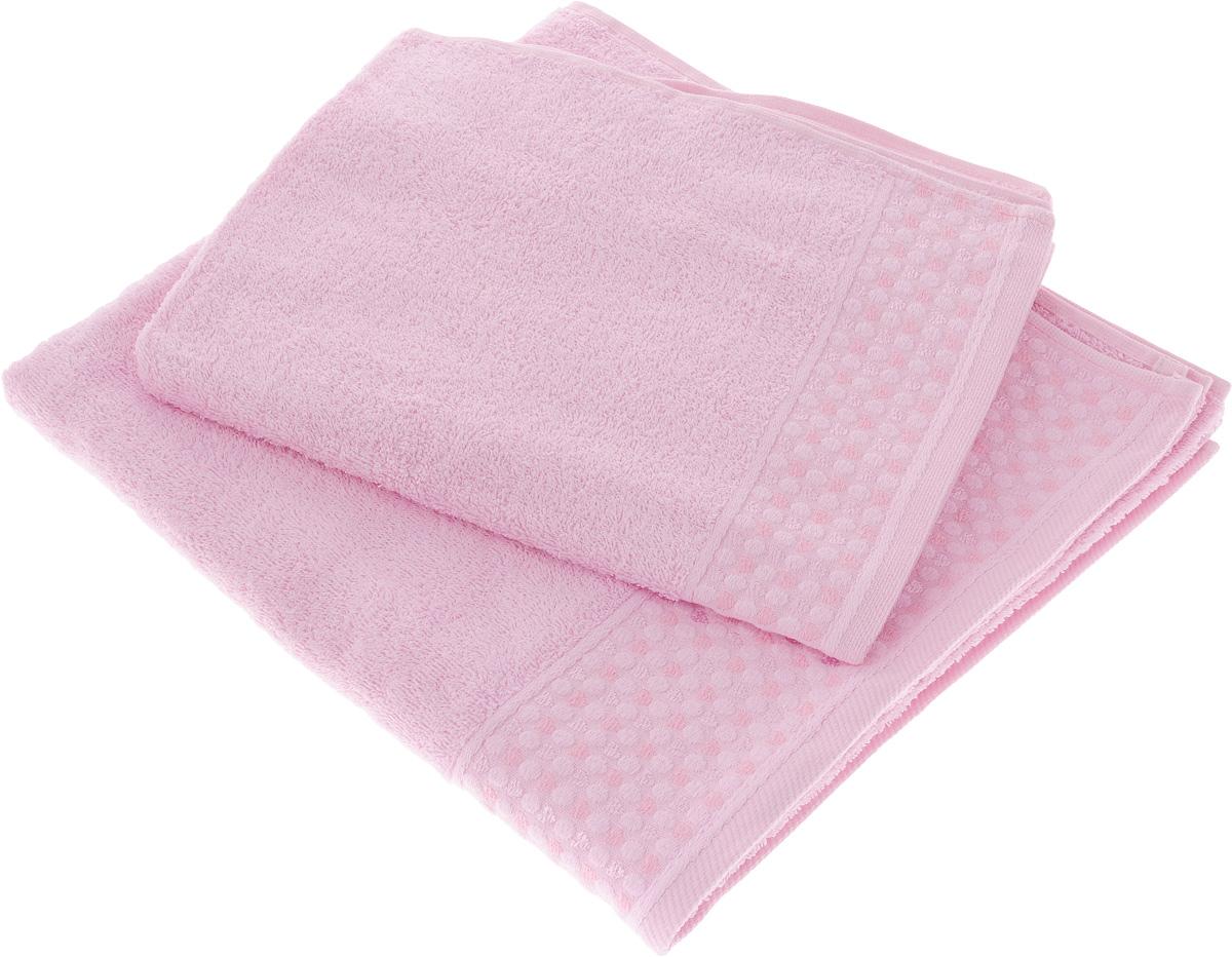 Набор полотенец Tete-a- Сердечки, цвет: розовый, 2 шт. УНП-104