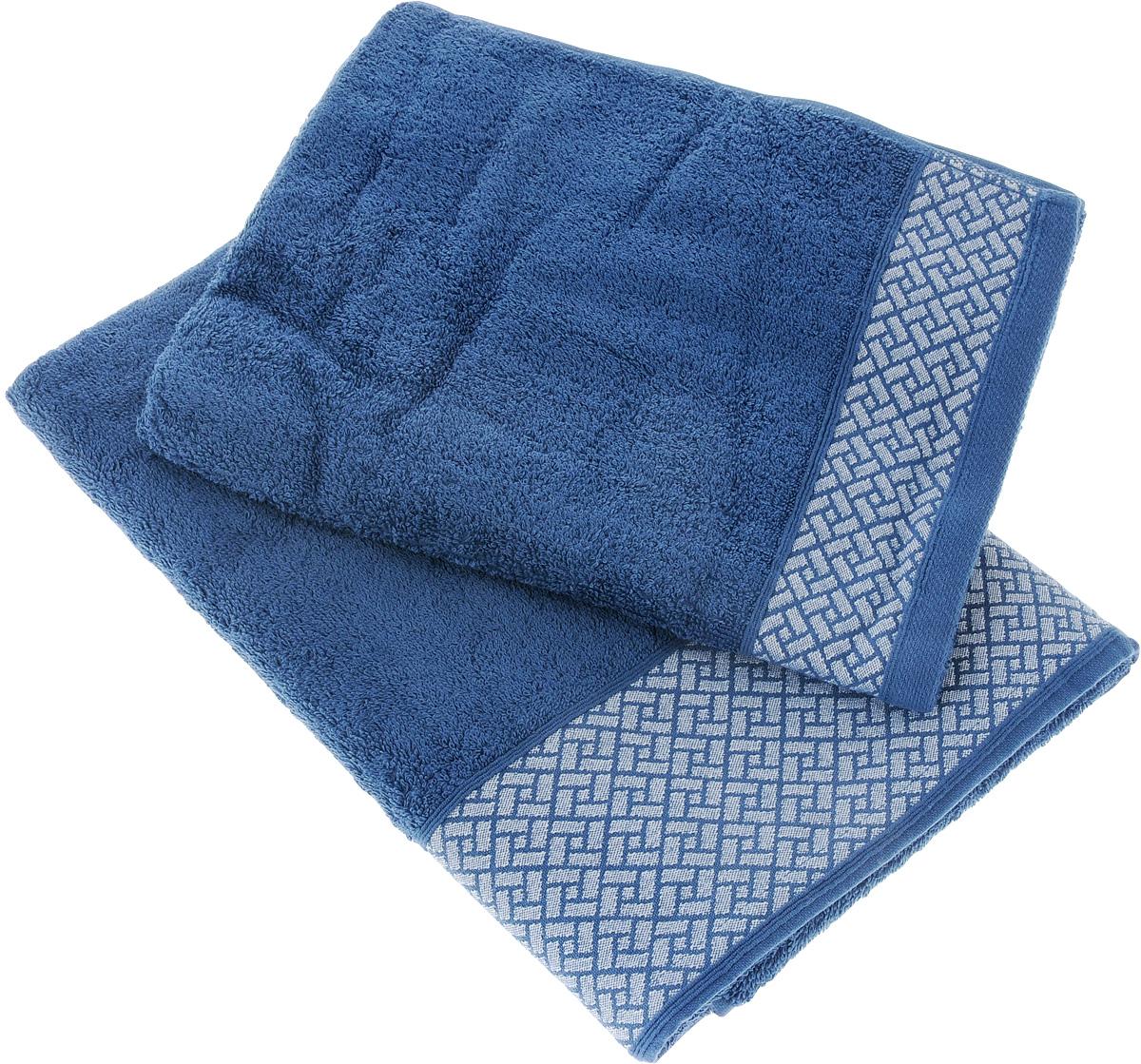 "Набор полотенец Tete-a-Tete ""Лабиринт"", цвет: синий, 2 шт. УНП-105"