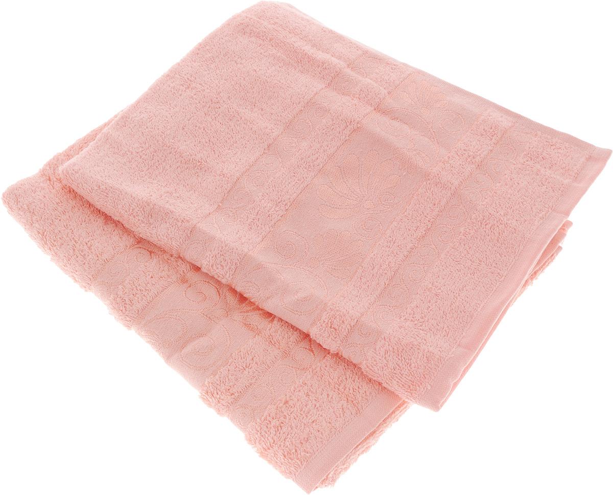 Набор полотенец Tete-a-Tete Цветы, цвет: светло-розовый, 50 х 90 см, 2 шт. УП-005