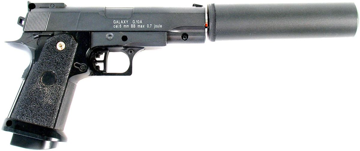 Пистолет страйкбольный Galaxy G.10A, пружинный, 6 ммG.19Пружинный пистолет G.10 является уменьшенной копией известного пистолета Hi-Capa.45 сосъемной имитацией глушителя. Корпус пистолета цельнометаллический. В магазин вмещается 10шариков BB 6 мм. Выстрел из пистолета осуществляется с помощью пружины, максимальнаяначальная скорость выстрела не более 50 м/с. Прицельные приспособления не регулируемые,пистолет предназначен для стрельбы на короткие дистанции.