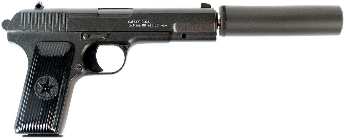 Пружинный пистолет G.33 - точная реплика известного пистолета ТТ со съемной имитацией  глушителя. Корпус пистолета цельнометаллический. В магазин вмещается 11 шариков BB 6 мм.  Выстрел из пистолета осуществляется с помощью пружины, максимальная начальная скорость  выстрела не более 50 м/с. Прицельные приспособления не регулируемые, пистолет предназначен  для стрельбы на короткие дистанции.