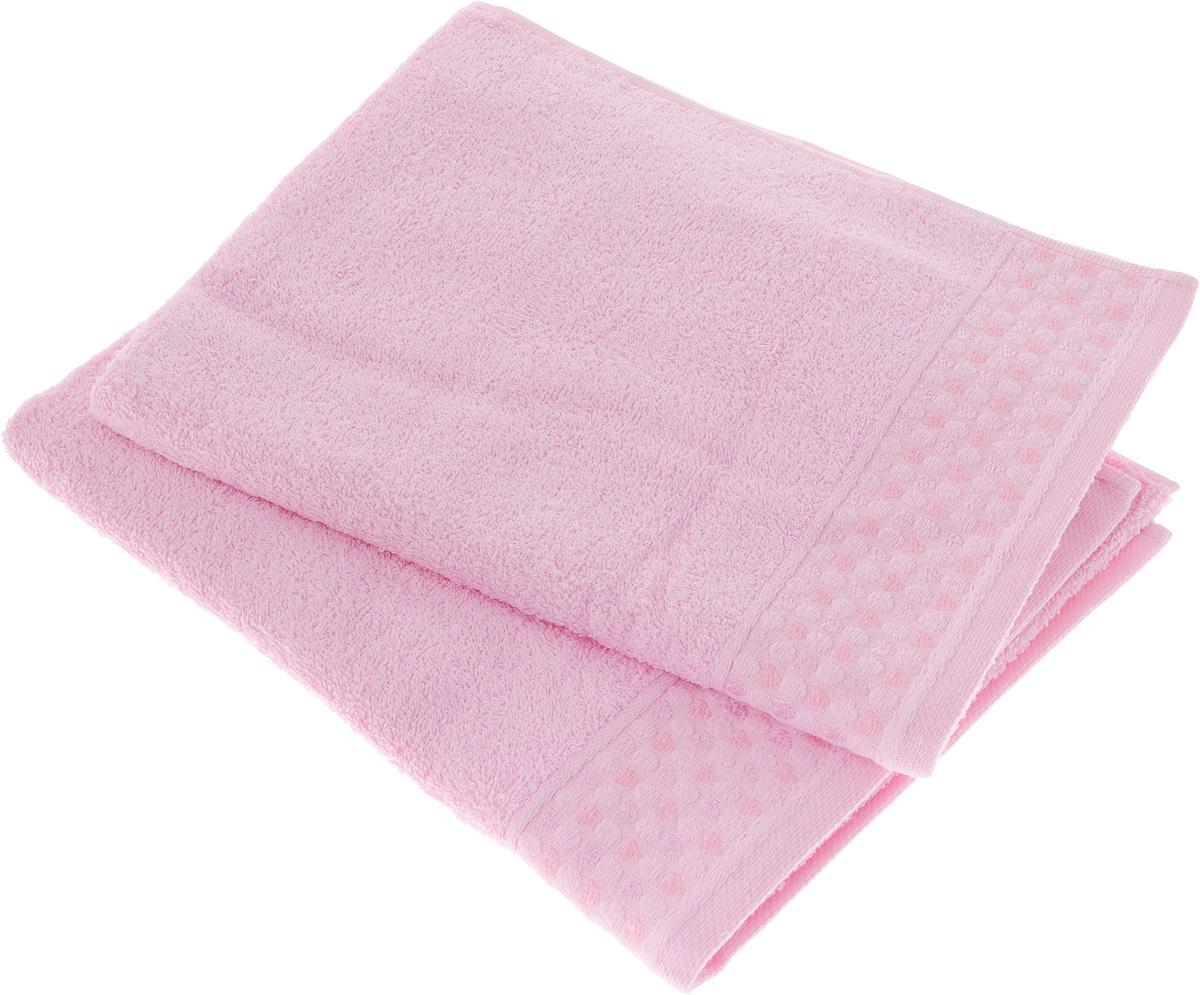 Набор полотенец Tete-a-Tete Сердечки, цвет: розовый, 50 х 90 см, 2 шт. УП-007 набор из 2х махровых полотенец розовый 50 90 70х140 узт нпм 102 04