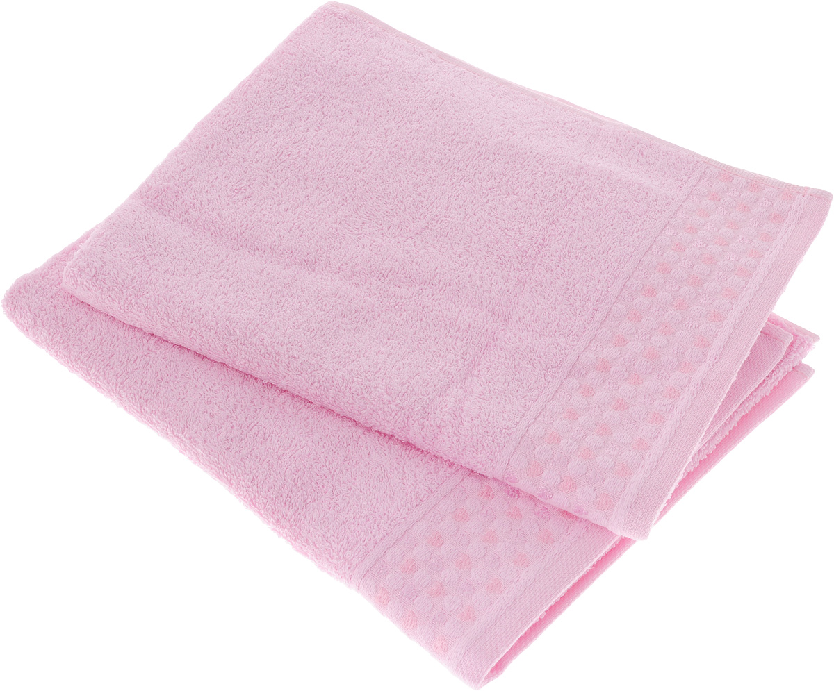 Набор полотенец Tete-a- Сердечки, цвет: розовый, 50 х 90 см, 2 шт. УП-007
