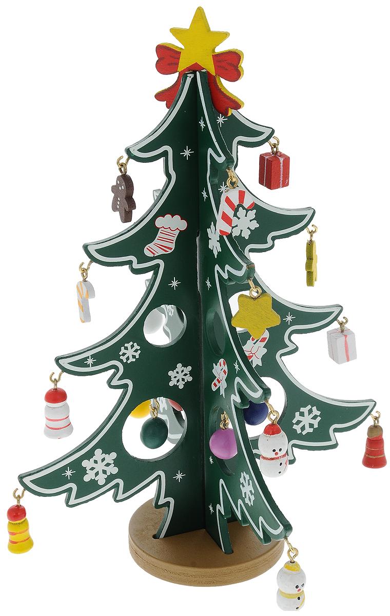 Украшение декоративное Win Max Новогодняя елочка, сборное, высота 21 см72802Украшение декоративное Win Max Новогодняя елочка отлично подойдет для праздничного декора дома в преддверии праздников. Изделие выполнено из дерева в виде елочки. Украшение сборное, елочка легко собирается из 3 частей. Игрушки подвешиваются на специальные крючки, а сверху крепится звезда. Вы можете поставить такую елочку в любое понравившееся вам место. Новогодние украшения несут в себе волшебство и красоту праздника. Они помогут вам украсить дом к предстоящим праздникам и оживить интерьер по вашему вкусу. Создайте в доме атмосферу тепла, веселья и радости, украшая его всей семьей.