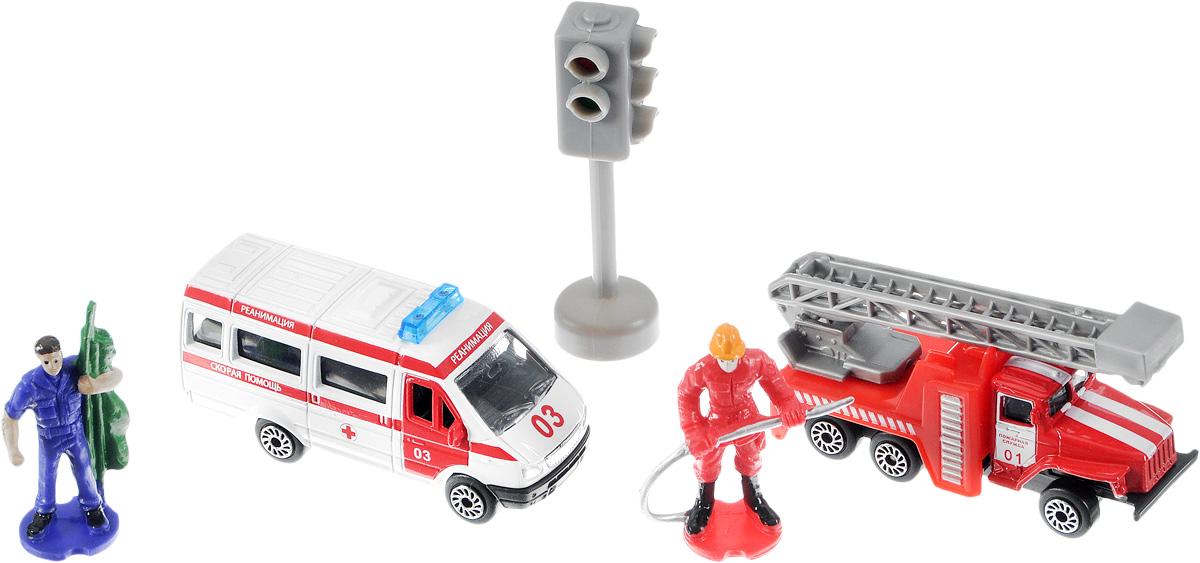 ТехноПарк Игровой набор Пожарная служба и скорая помощь игрушка набор машин скорая помощь 20 шт welly