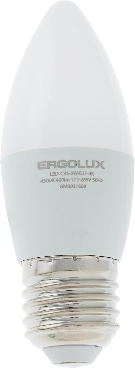 Лампа светодиодная Ergolux LED-C35-5W-E27-4K, холодный свет, цоколь Е27, 5 Вт12414Лампа светодиодная Ergolux - новое решение в светотехнике. Светодиодная лампа экономит до 90% электроэнергии благодаря низкой потребляемой мощности. Лампа не содержит ртути и других вредных веществ, экологически безопасна и не требует утилизации. Срок службы в 2,5-3 раза дольше энергосберегающей лампы и в 30 раз дольше лампы накаливания. Обладает высокой ударопрочностью благодаря корпусу из пластика и металла. Мгновенно включается, не мерцает во время работы. Светодиодные лампы идеально подходят для основного и акцентного освещения интерьеров, витрин, декоративной подсветки. Кроме того, они создают уютную атмосферу и позволяют экономить электроэнергию уже с первого дня использования. Тип: Candle C35. Эффективность: 80 лм/Вт. Напряжение: 172-265 В. Индекс цветопередачи (Ra): 77+.Угол светового пучка: 220°. Использовать при температуре: от -30° до +40°С.Коэффициент пульсации: <5%.