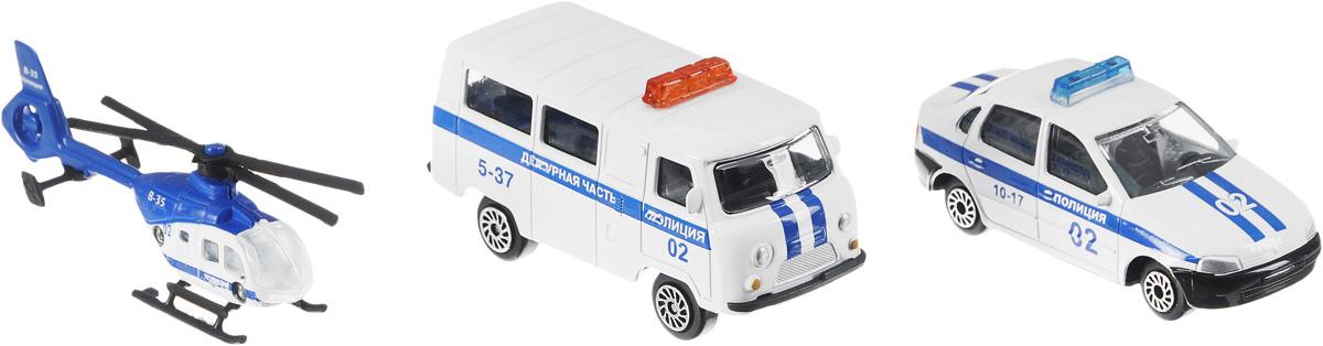 ТехноПарк Набор машинок Полицейский транспорт 3 шт игрушки для зимы росигрушка песочный набор транспорт 3 л дорожный патруль
